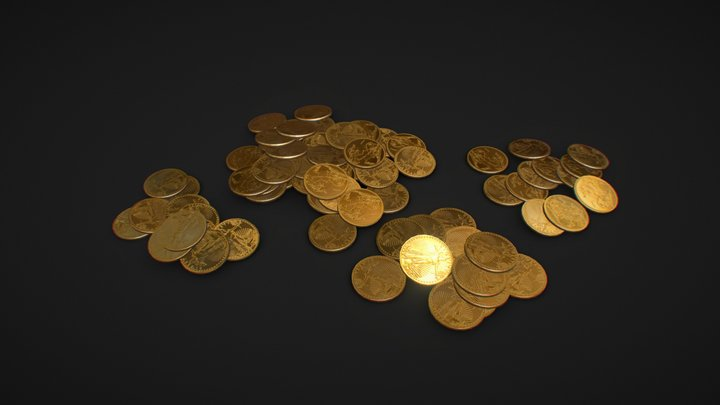Piles Of Gold Coins 3D Model