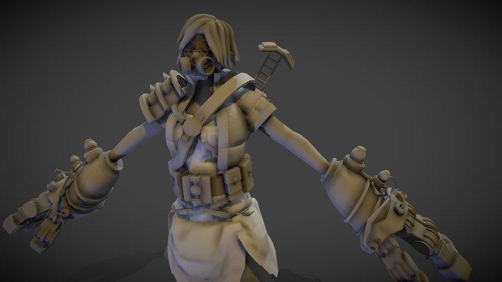 female cyberpunk raider 3D Model
