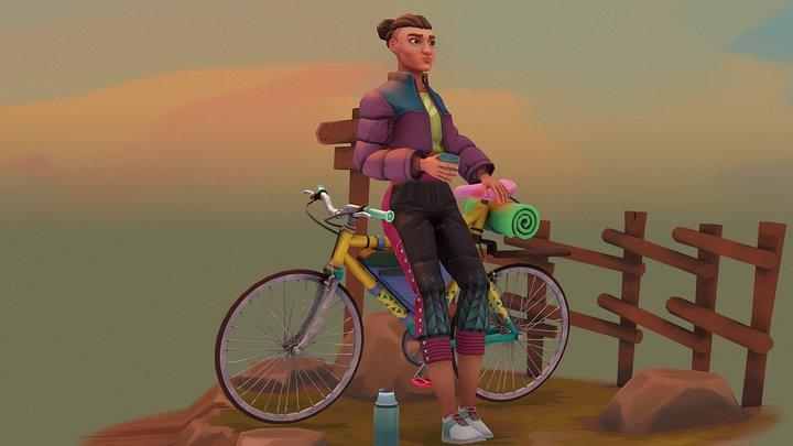 Adventure Bicyclist 3D Model