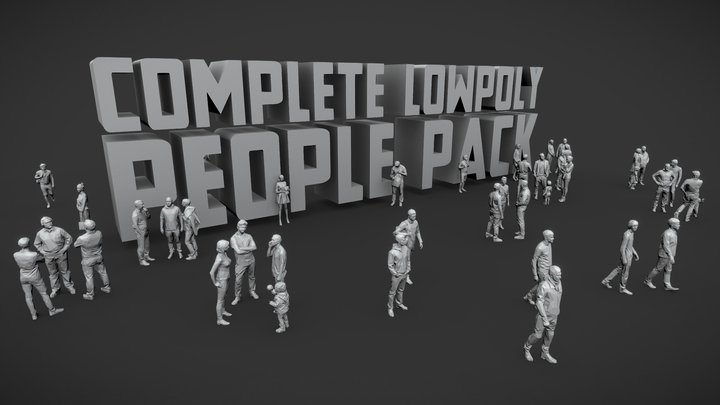 Lowpoly People Complete Pack 3D Model