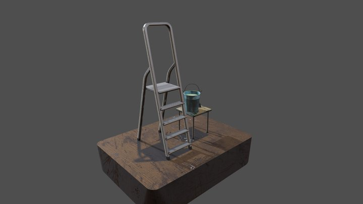 Ladder with paint 3D Model