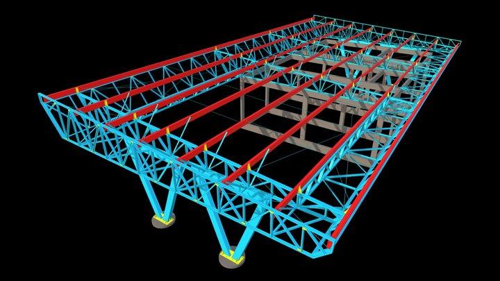76 - COBERTURA EM ESTRUTURA METÁLICA 3D Model