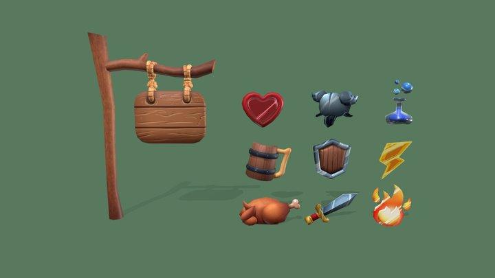 Starter RPG signs pack 3D Model