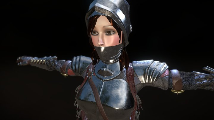 Knight Lady hipoly 3D Model