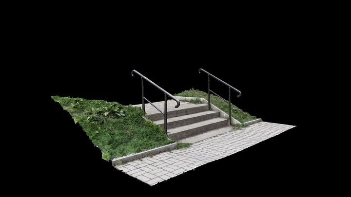 Short stairs with railling 3D Model