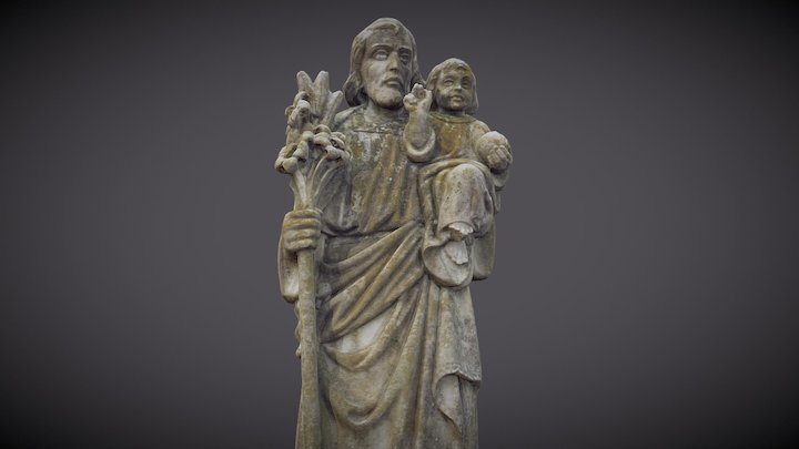 Jesus with a Child Monument 3D Model