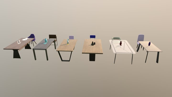 ArchViz Table and Chair Pack 3D Model
