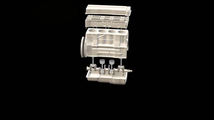 Simplified Car Engine 3D Model