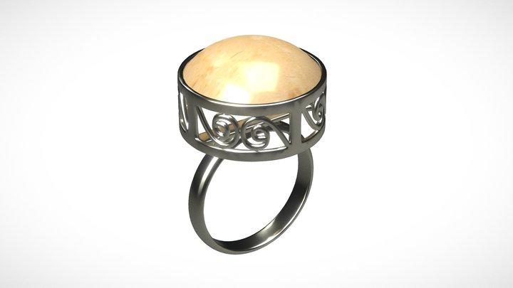 Jewelry Silver Ring - Remodeled 3D Model
