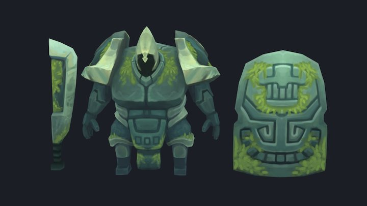 Stone Statue Hand painted 3D Model