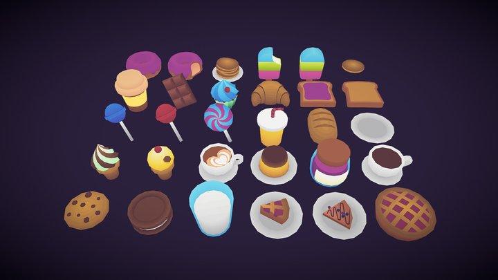 Low Poly Desserts 3D Model
