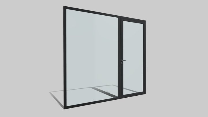 Puerta Batiente K40 - Animada 3D Model