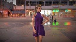 Offshoulder Sleeveless Evening Dress 3D Model