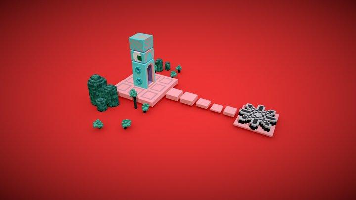 Monument Valley Level 3D Voxel art 3D Model