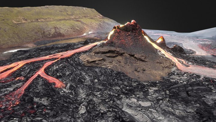 Fagradalsfjall volcano photogrammetry March 21 3D Model