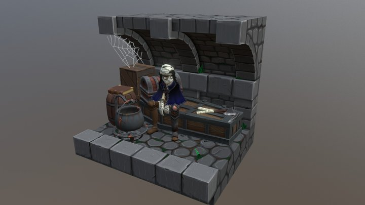 Gothic Mobile Game Diorama 3D Model