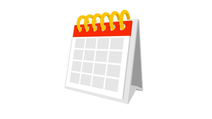 Calendar Low Poly Flat Icon Style 3D Model