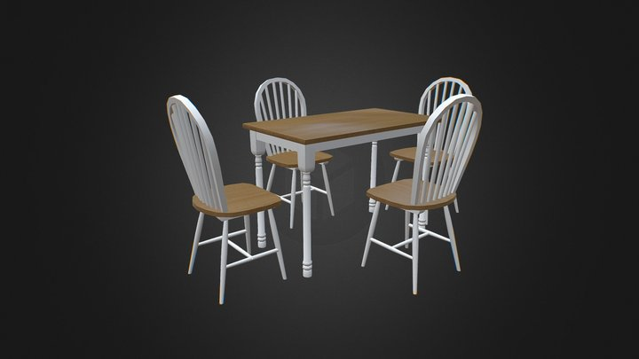Oak and White Finish Wood Dining Table 3D Model