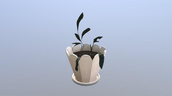 Dead Plant in Porcelain Pot 3D Model