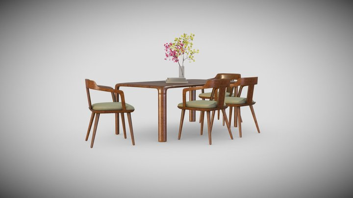 3D Dining Set 3D Model