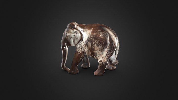 Carved Wooden Elephant 3D Model