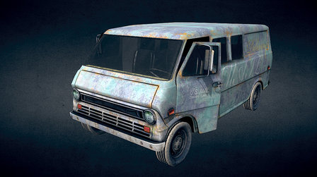 Old mail delivery van 3D Model