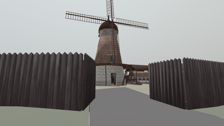 The Old Windmill Reconstruction 1840 3D Model