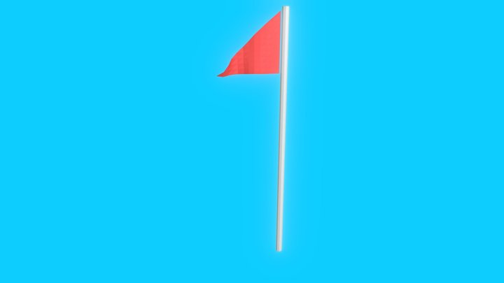 Low poly Golf Flag Animated 3D Model