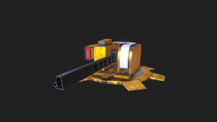 Turret machine gun_01 3D Model