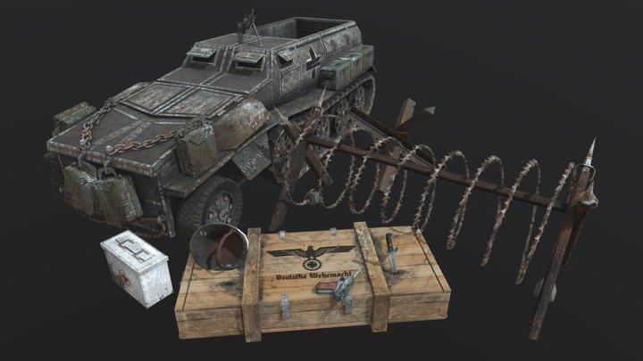 Small WW2 scene 3D Model