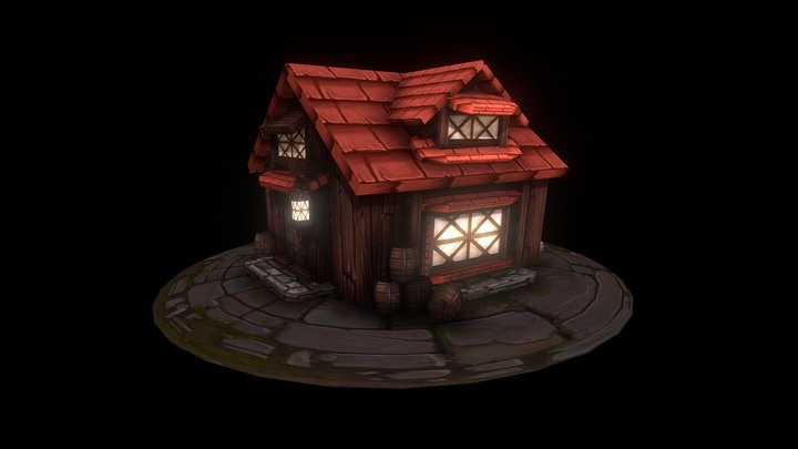 Game Asset: Village House 3D Model