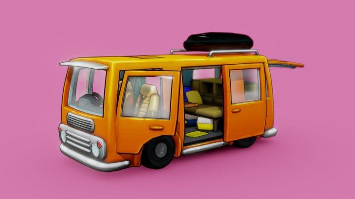 Sylized Hand Painted Cartoon Van 3D Model