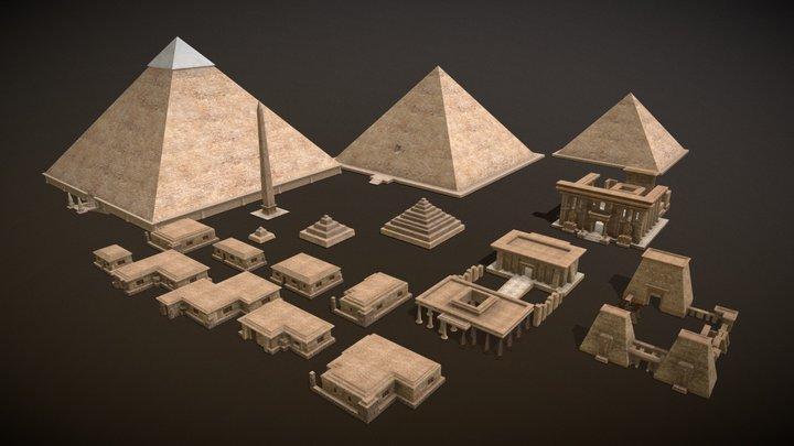 ancient egyptian pharaohs  buildings 3D Model