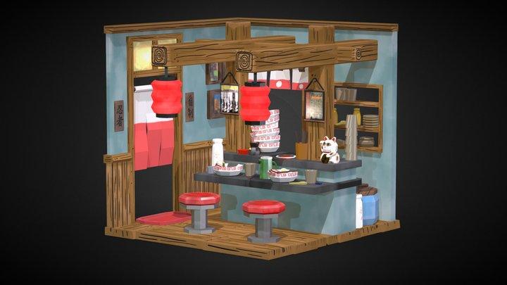 Isometric Ramen Shop Low Poly 3D Model