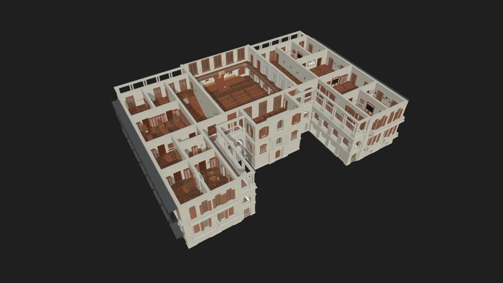 1939 Queen's College, Hong Kong 1-Flr 荷李活道皇仁書院二樓 3D Model
