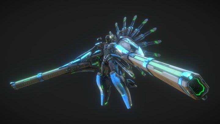Sci-Fi Long-range electromagnetic artillery 3D Model