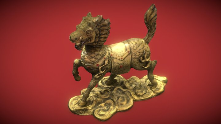 Chinese Qilin Statue Low polygon 3D Model