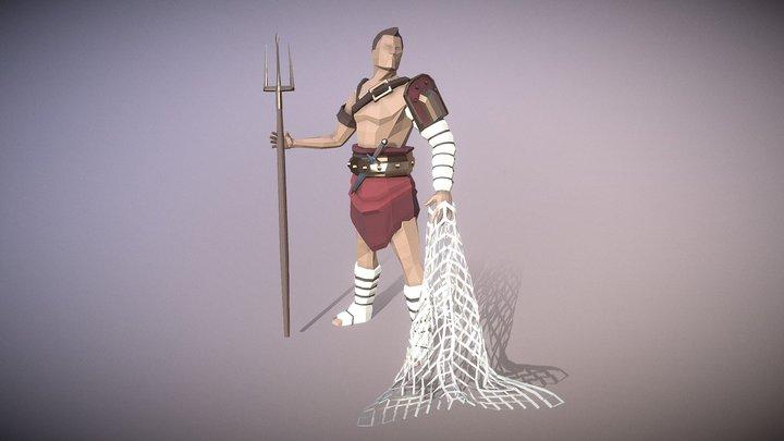 Low-Poly Retiarius Gladiator 3D Model