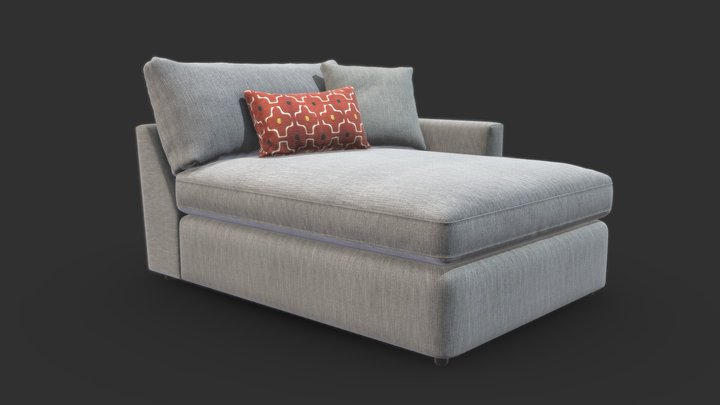 Lounge II Petite Outdoor Upholstered Chaise 3D Model
