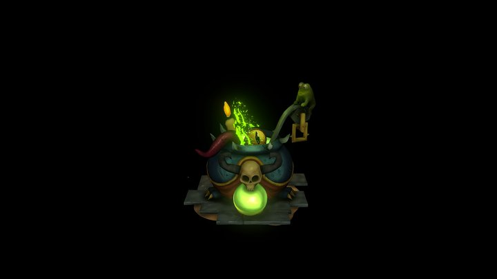 Witches Cauldron Brew (Hand-Painted) 3D Model