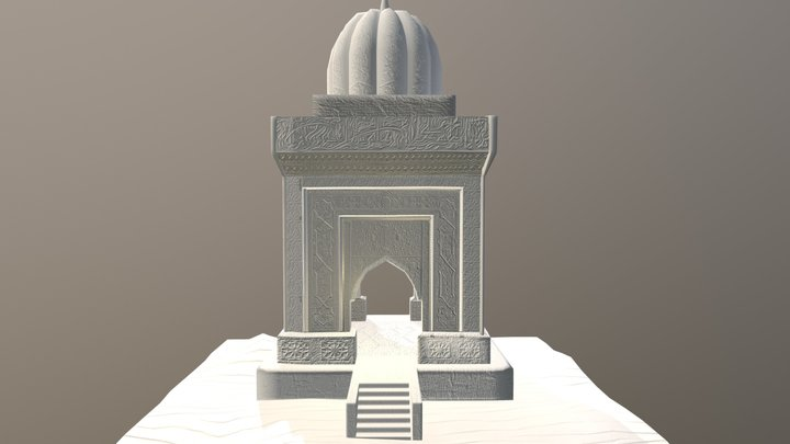 Oriental Fantasy Temple with Mosaics (White) 3D Model