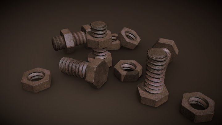 Bolts and nuts 3D Model