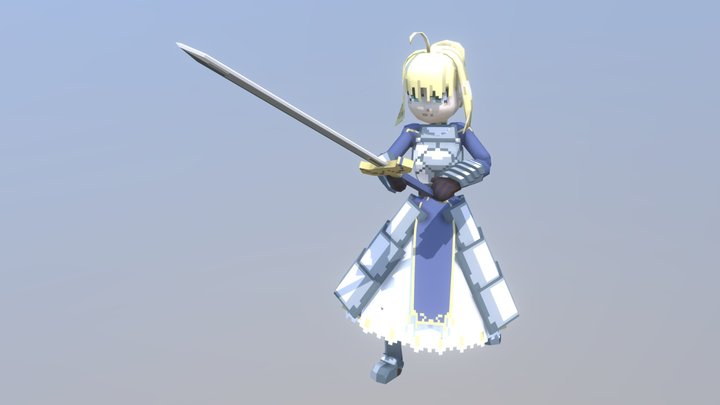Lowpoly Pixelated Saber Artoria Fate/Stay Night 3D Model