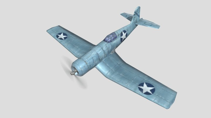 Vought F4U Corsair Warplane Low Poly Asset 3D Model