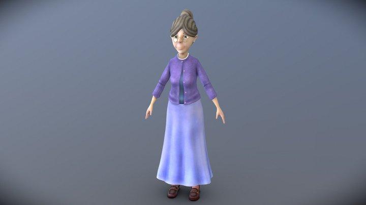 Sweet Cartoon Grandma 3D Model