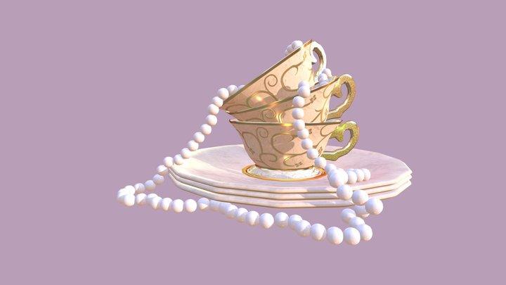 Tea Cup Scene 3D Model