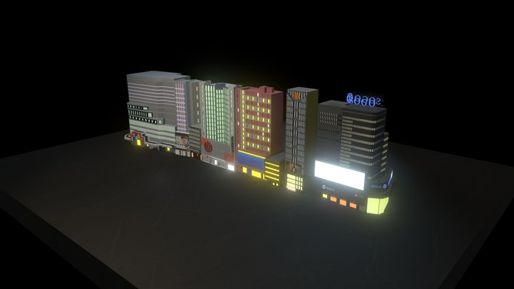 Hong Kong Causeway bay buliding (Low Poly) 3D Model