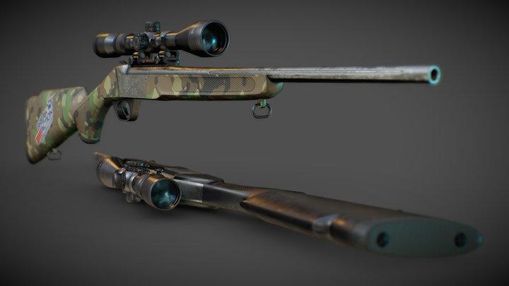 Deadly Accurate Hunting Sniper Rifles 3D Model