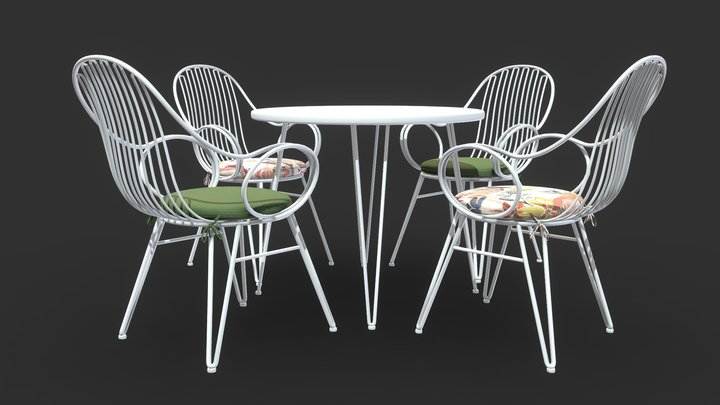 Scroll Outdoor Dining Chair With Bistro Table 3D Model