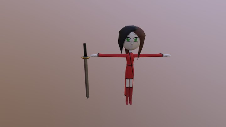 Chibi Model And Sword 3D Model
